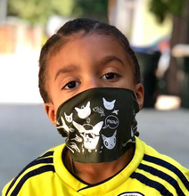Load image into Gallery viewer, Little boy wearing Gatos Print Multi Use Headband/Mask by Deux Goods in Olive Green - as a face mask