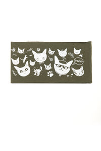Kids Gatos Print Multi Use Headband/Mask by Deux Goods in Olive Green