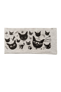 Kids Gatos Print Multi Use Headband/Mask by Deux Goods in Light Gray