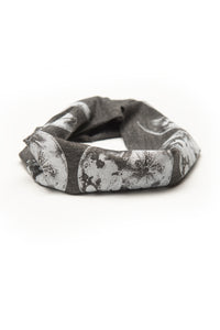Kids Moon Phase Print Multi Use Headband/Mask in Stone Gray - rolled up
