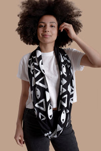 Vision Print Infinity Scarf in Pitch Black - design is eyes and triangles