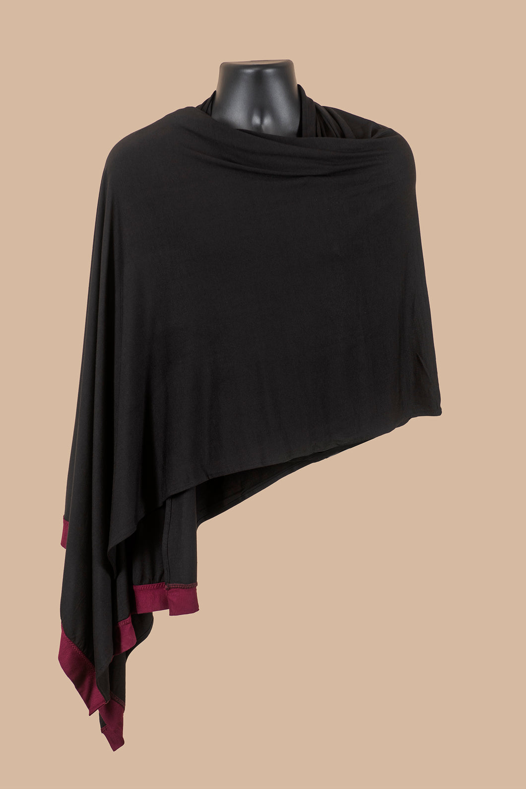 Wrap Shawl in Pitch Black with Burgundy Edges
