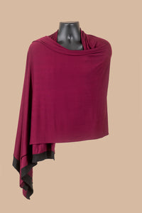 Wrap Shawl in Burgundy with Black Edges