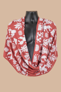 Infinity Scarf in Brick Red with Desert Print in White