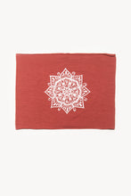 Load image into Gallery viewer, Eye See You by Melody Tunks - brick red fabric with white ink - mandala design