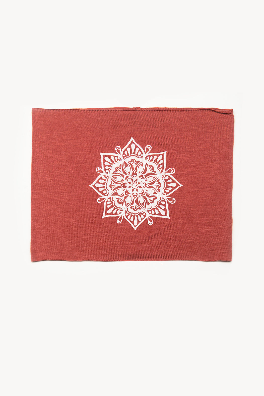 Eye See You by Melody Tunks - brick red fabric with white ink - mandala design