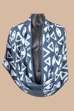 Load image into Gallery viewer, Vision Print Infinity Scarf in Titanium Blue - design is eyes and triangles
