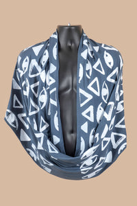 Vision Print Infinity Scarf in Titanium Blue - design is eyes and triangles
