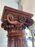 19th C. French Oak Column Hand Carved