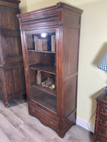 1920's French Oak Display Cabinet with Glass Door