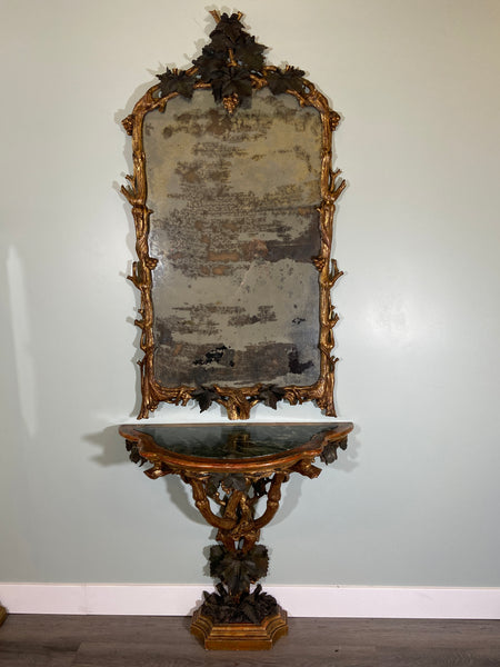 Turn of 18th Century Painted and Parcel Gilt Console and Mirror Console