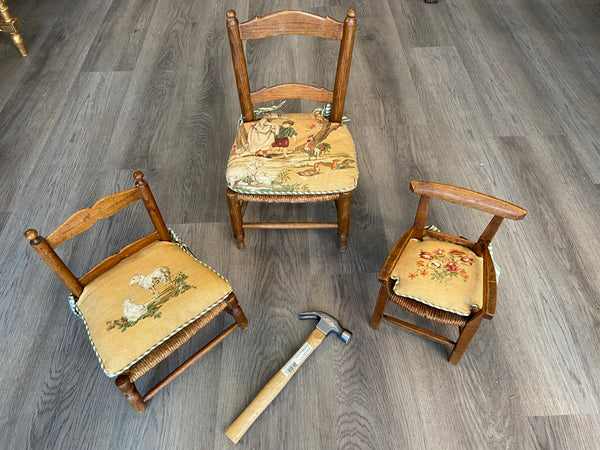 Rare Set of Late 1800's. French Rush Seat Doll Chairs