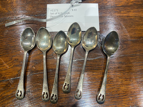 Set of 6 English Demitasse Spoons