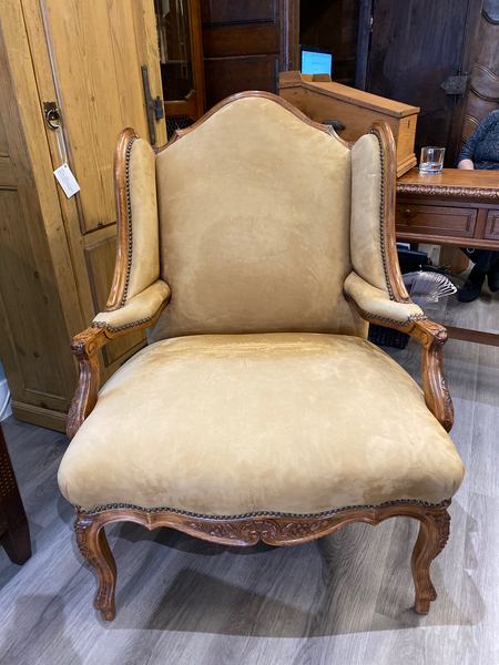 Spectacular  Reproduction French Oak Buck Leather Wing Chair