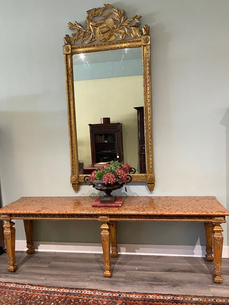 Important Grand 18th Century Gold Gilt Carved Wood Mirror