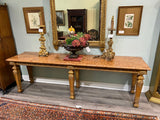 19th C. French Hand Carved Gold Gilt Console with Marble Top