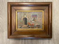 Vintage Signed French Oil On Board