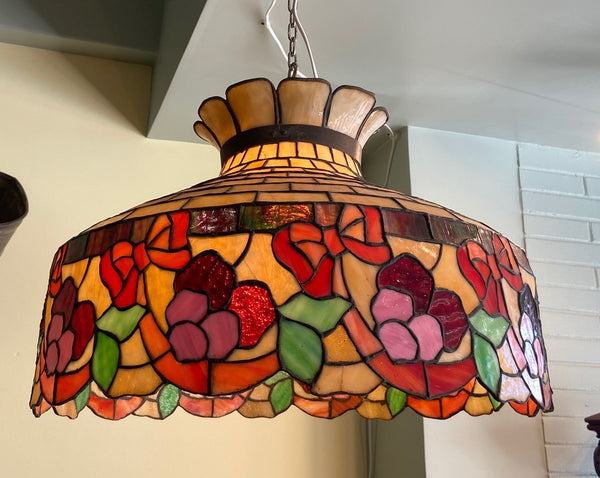 Antique Slag Leaded Glass Pendant Hanging Lamp