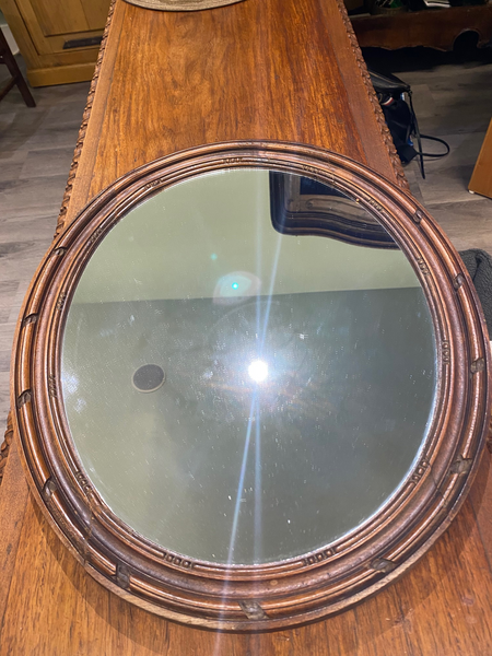 19th C. French Walnut  Oval Mirror
