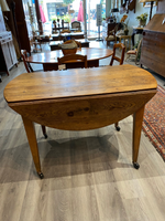 19th C. Oak Drop Leaf Table with Drawer