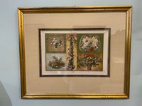 19th C. French  Hand Painted Print Used for Tapestry Making