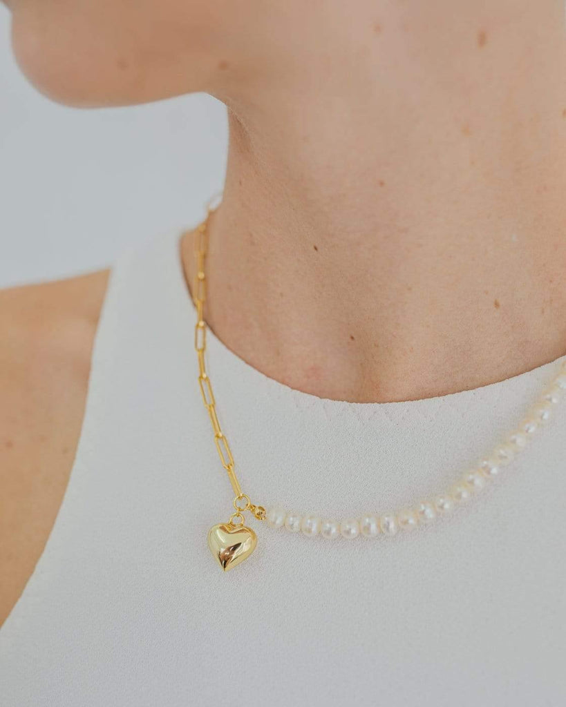 Necklace Heart Pearl Gold
