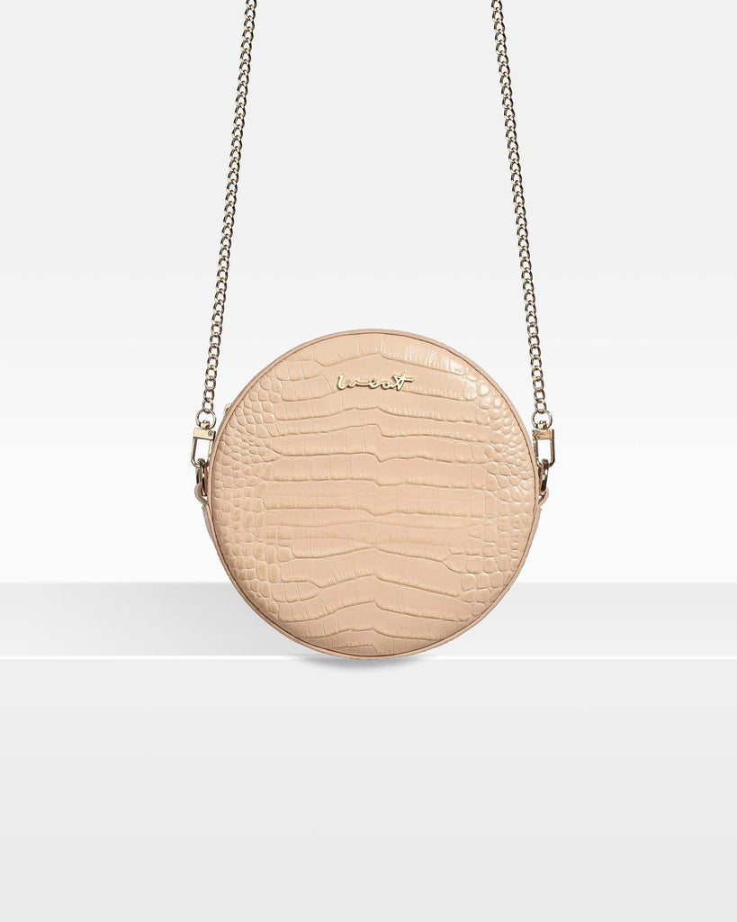 Round Belt Bag Croco Nude