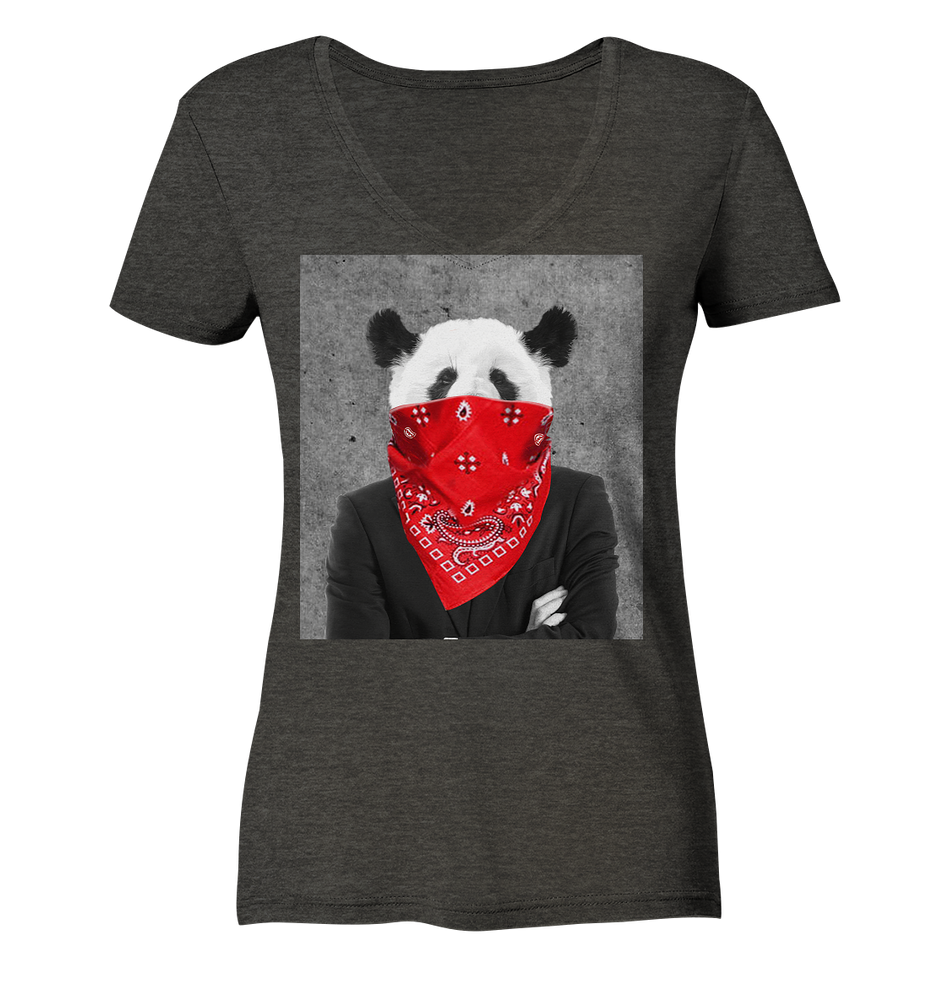 Rebell Panda - Ladies Organic V-Neck Shirt