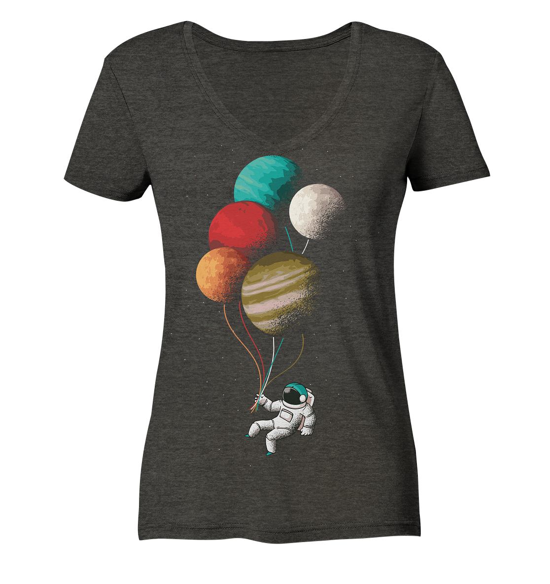 Unsere Planeten - Ladies Organic V-Neck Shirt