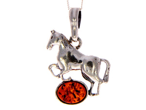 925 Sterling Silver & Baltic Amber Horse Pendant - 1613