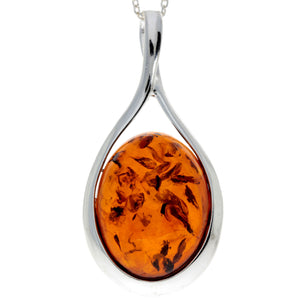 925 Sterling Silver & Baltic Amber Classic Pendant - 1835