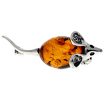 925 Sterling Silver & Baltic Amber Mouse Brooch - 4107