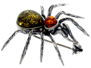 925 Sterling Silver & Baltic Amber Spider Brooch - 4152