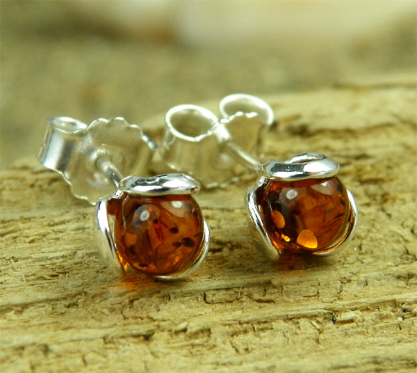 925 Sterling Silver & Baltic Amber Ball Earrings - 5966