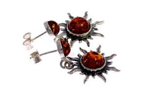 925 Sterling Silver & Baltic Amber Sun Drop Earrings 5334