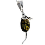925 Sterling Silver Mouse Pendant with Amber - 568