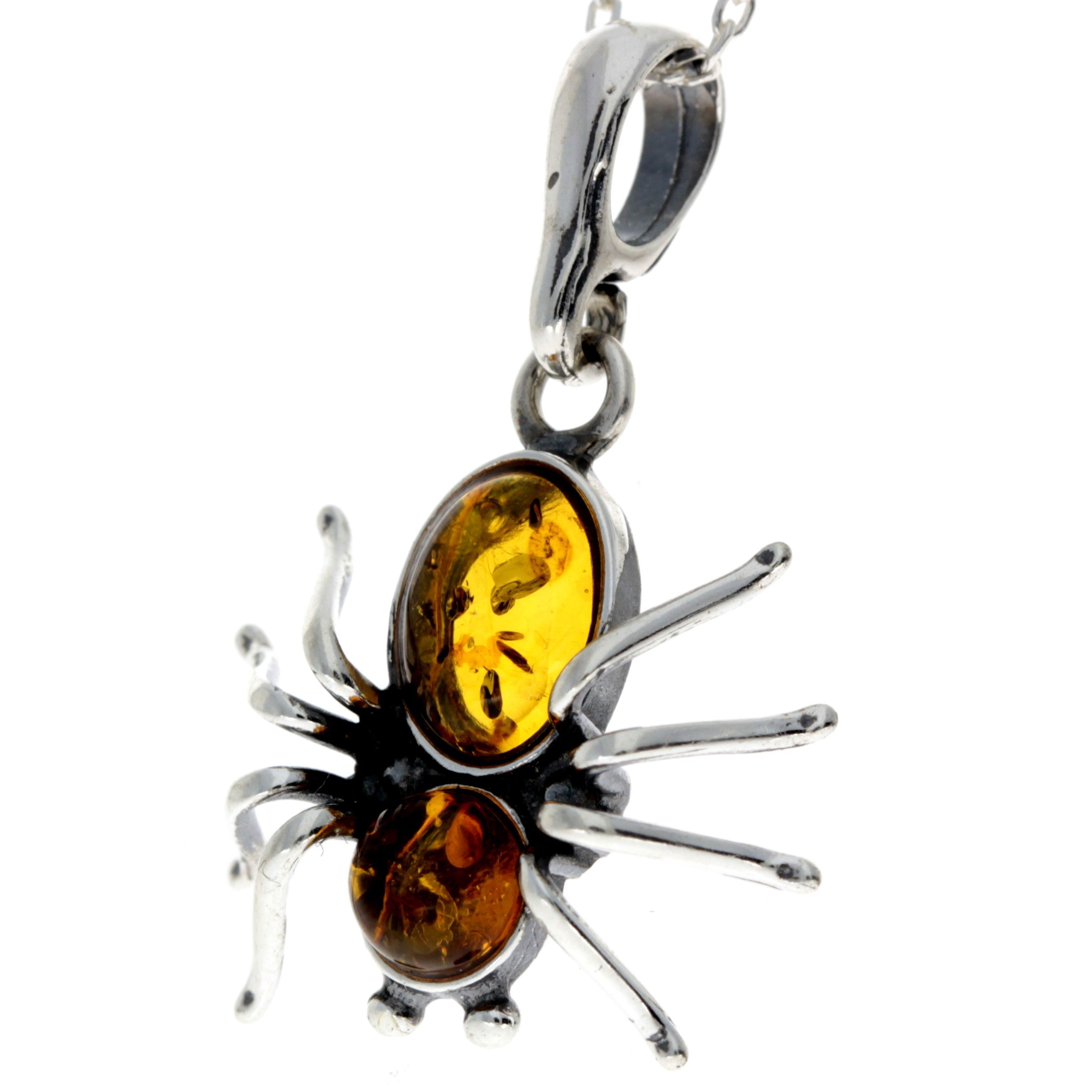 925 Sterling Silver & Baltic Amber Spider Pendant - 598