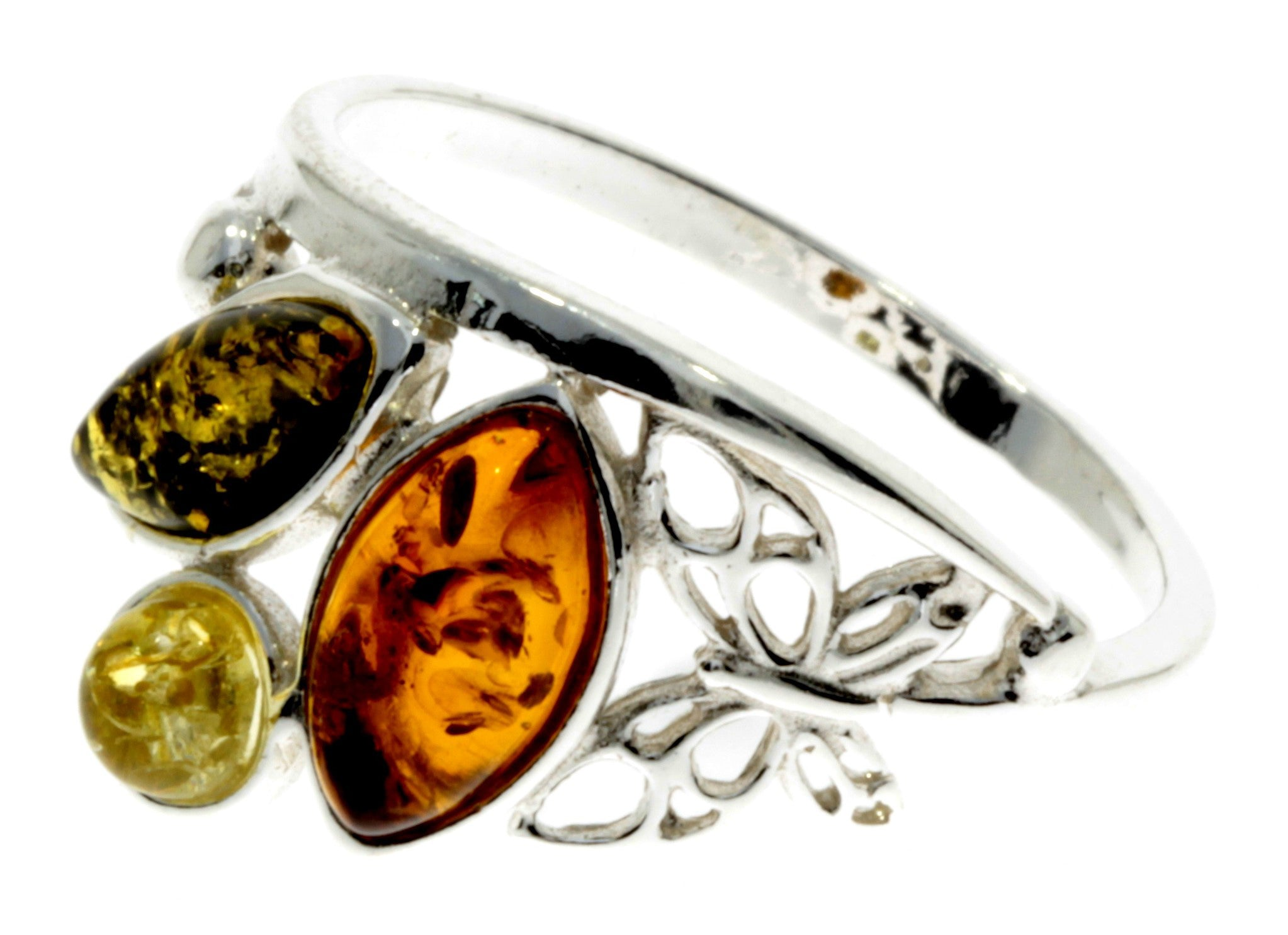 925 Sterling Silver & Baltic Amber Modern Ring with silver butterfly - M717