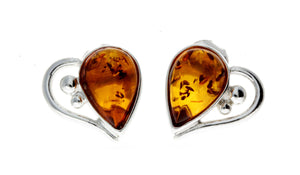 925 Sterling Silver & Baltic Amber Heart Studs Earrings - M194