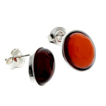 925 Sterling Silver & Baltic Amber Large Oval Classic Studs Earrings - M645