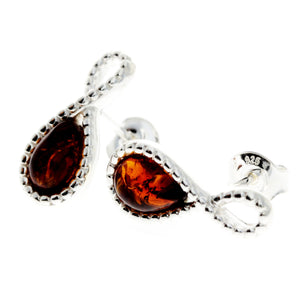 925 Sterling Silver & Baltic Amber Infinity Studs Earrings - GL164