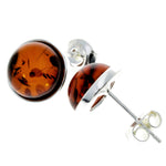 925 Sterling Silver & Baltic Amber Round Studs Earrings - M641