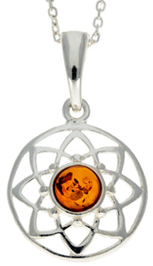 925 Sterling Silver & Baltic Amber Celtic Pendant - GL376