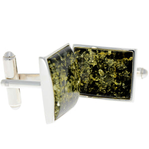 925 Sterling Silver & Baltic Amber Classic Cufflinks - AAC004