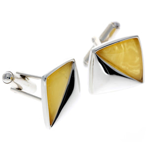 925 Sterling Silver & Baltic Amber Modern Cufflinks - AAC003