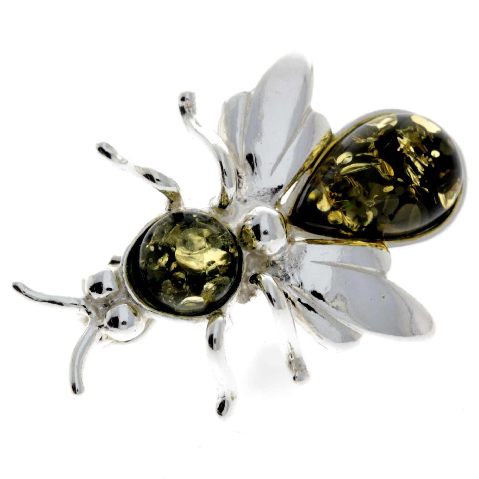 925 Sterling Silver & Baltic Amber Fly Brooch - M801