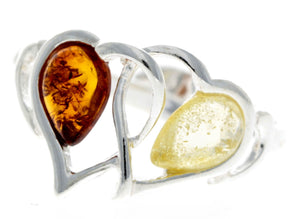 925 Sterling Silver & Baltic Amber Heart Adjustable Ring - GL713A