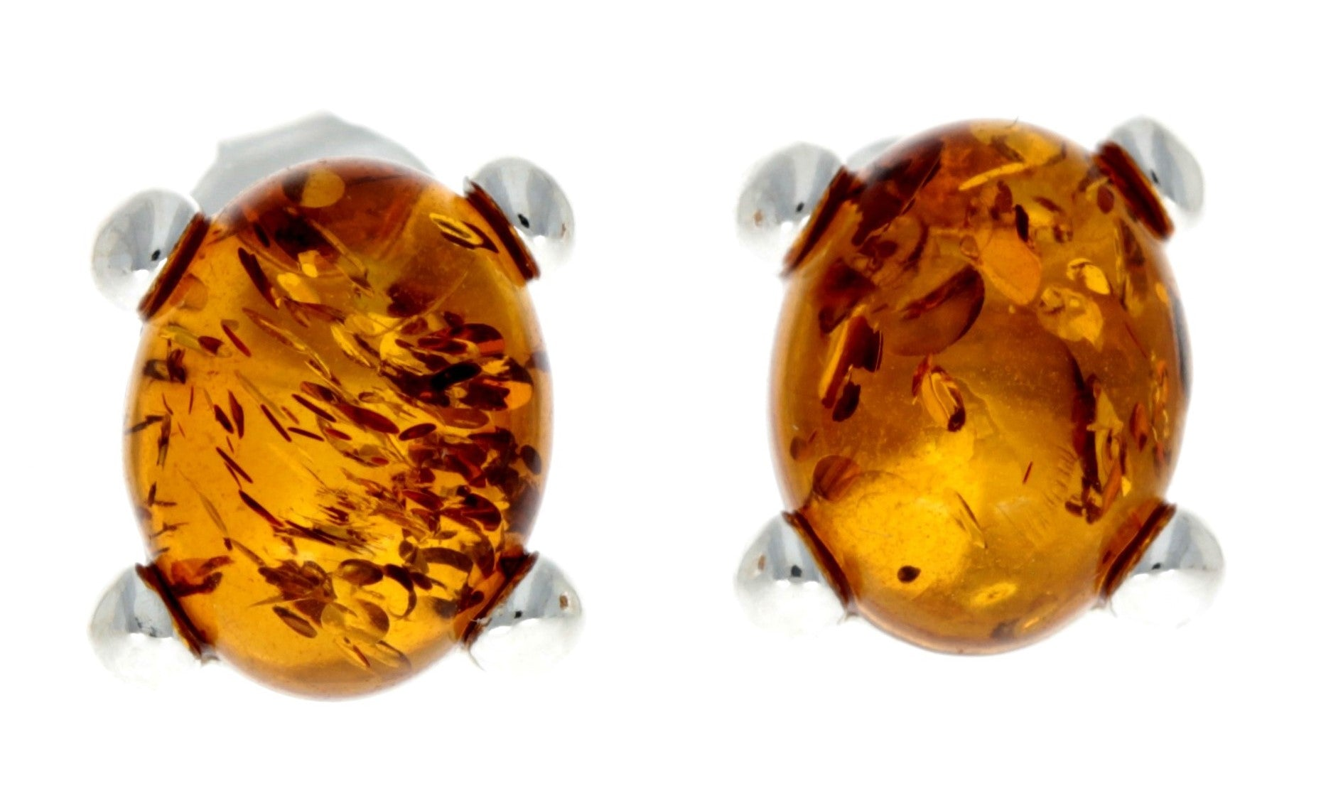 925 Sterling Silver & Baltic Amber Classic Oval Stud Earrings - GL028