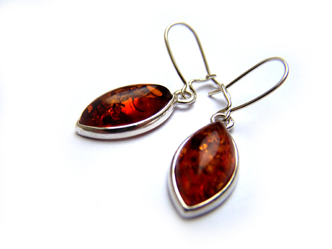 925 Sterling Silver & Baltic Amber Classic Drop Earrings - K087