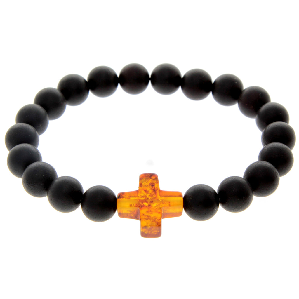 Genuine Baltic Amber Elastic Bracelet for Men with Amber Cross - MB010